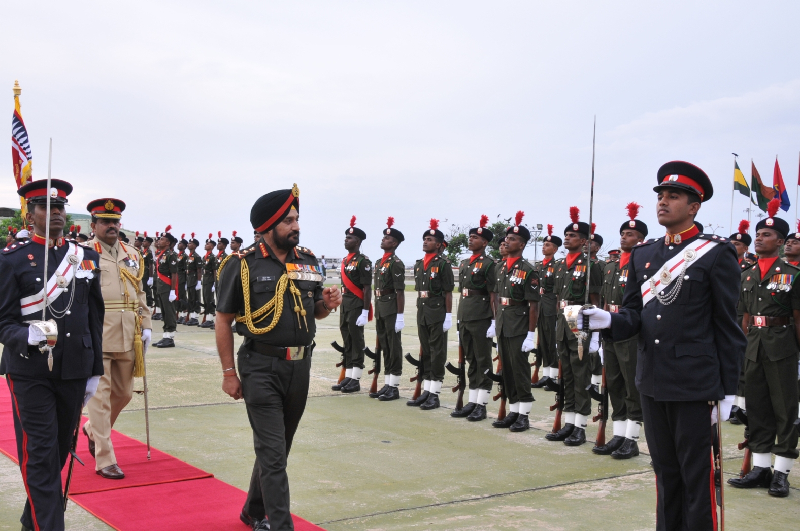 Gen Bikram Singh reviewing the Guard of Honour at Colombo