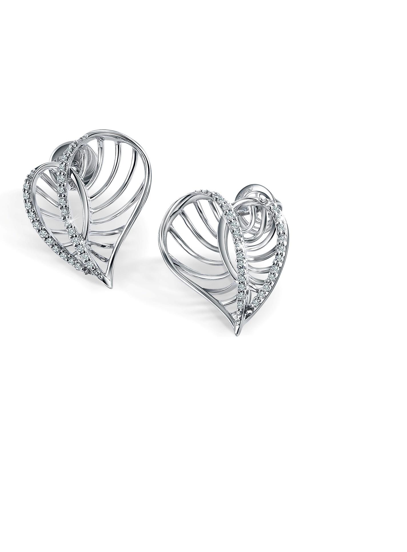 Heart Shaped Platinum Earrings
