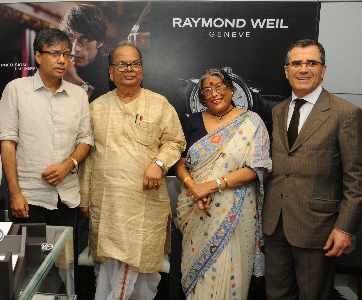 Pic 1 Fm Left Authors Amit Chaudhuri  Manishankar  Nabaneeta Dev Sen and Olivier Bernheim  President & CEO of Raymond_