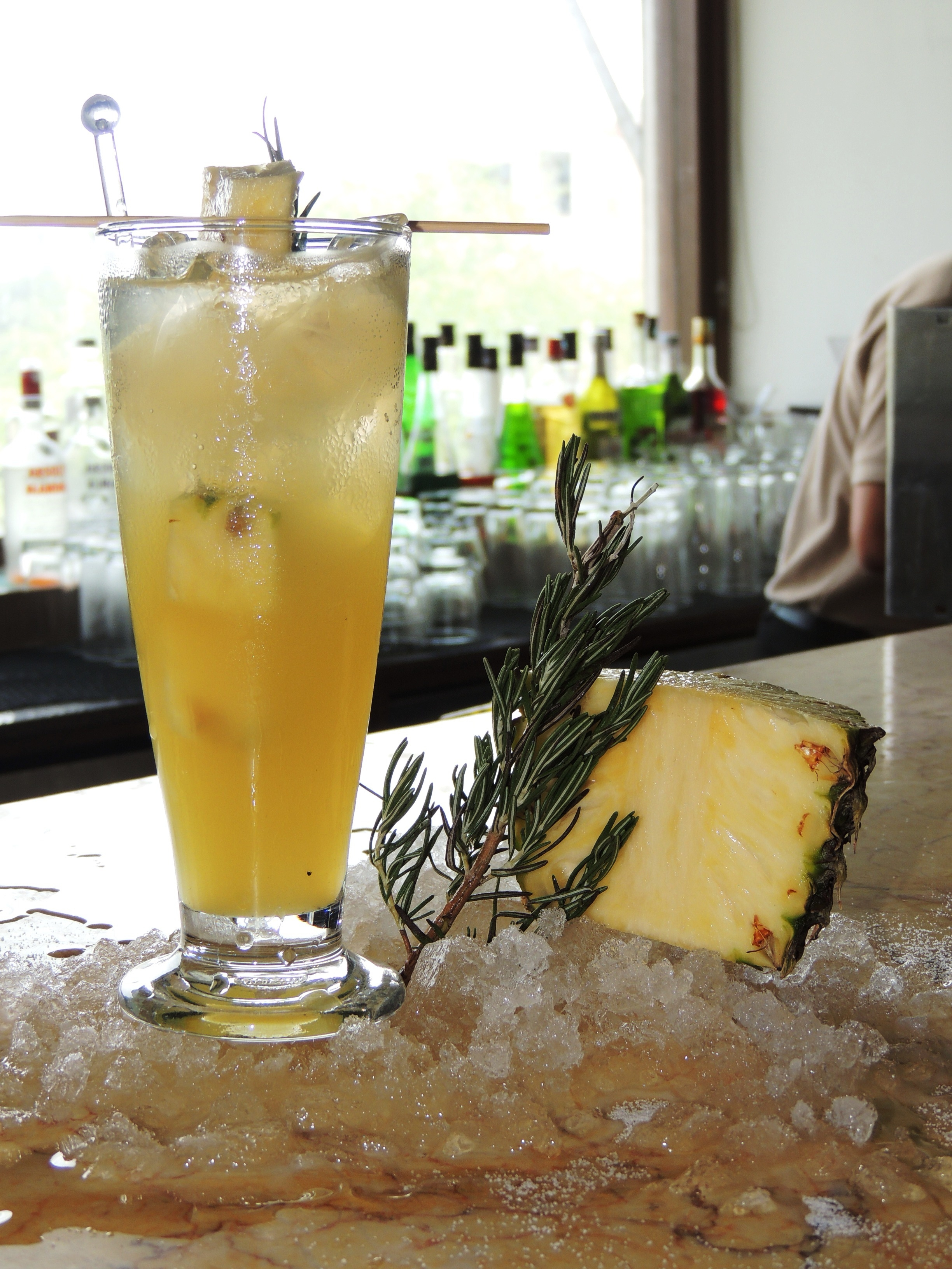 Rum  Pineapple and Rosemary cooler