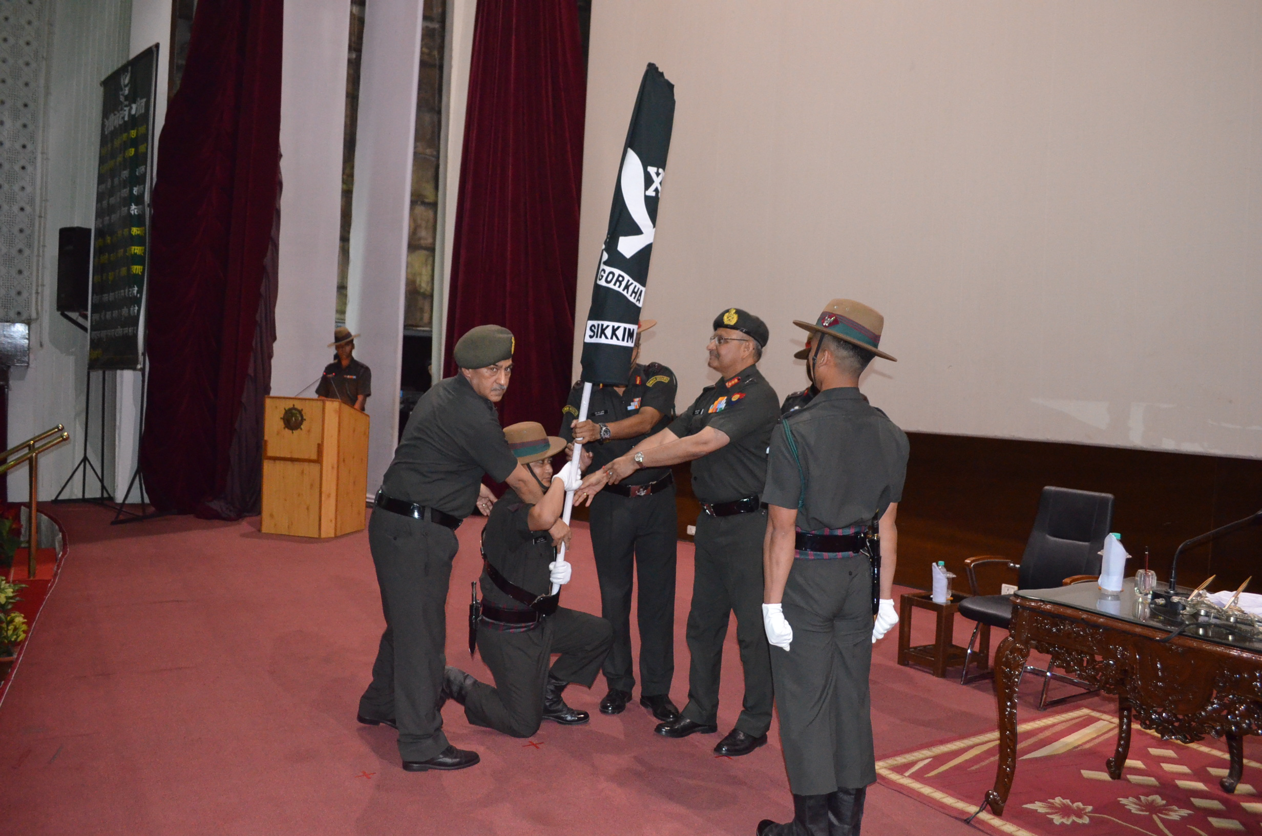 Army Vice Chief Lt Gen SK Singh handing over Flag of Sikkim Scouts on 24 May 2013 at Lucknow