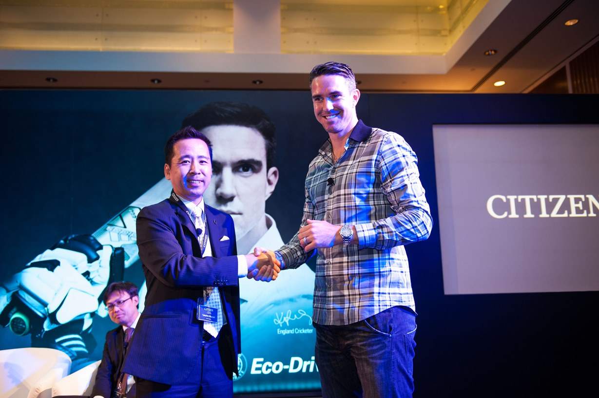 From right to left-Kevin Pietersen CITIZEN Brand Ambassador-Mr. Takahiro Miyazaki General Manager of CITIZEN's Middle_
