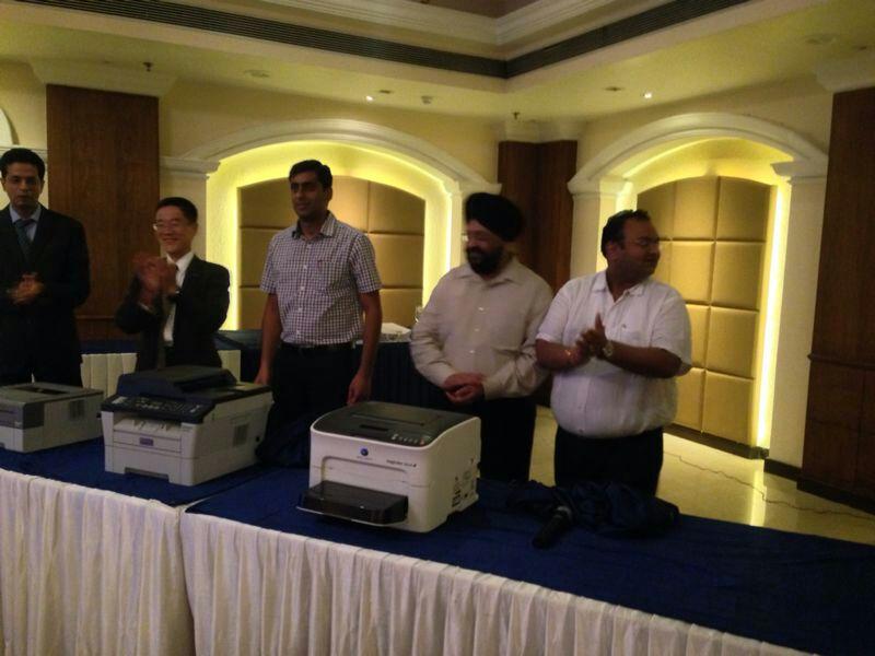 Mr. Tadahiko Sumitani MD  Konica Minolta launching the A4 printer range in Jalandhar Punjab