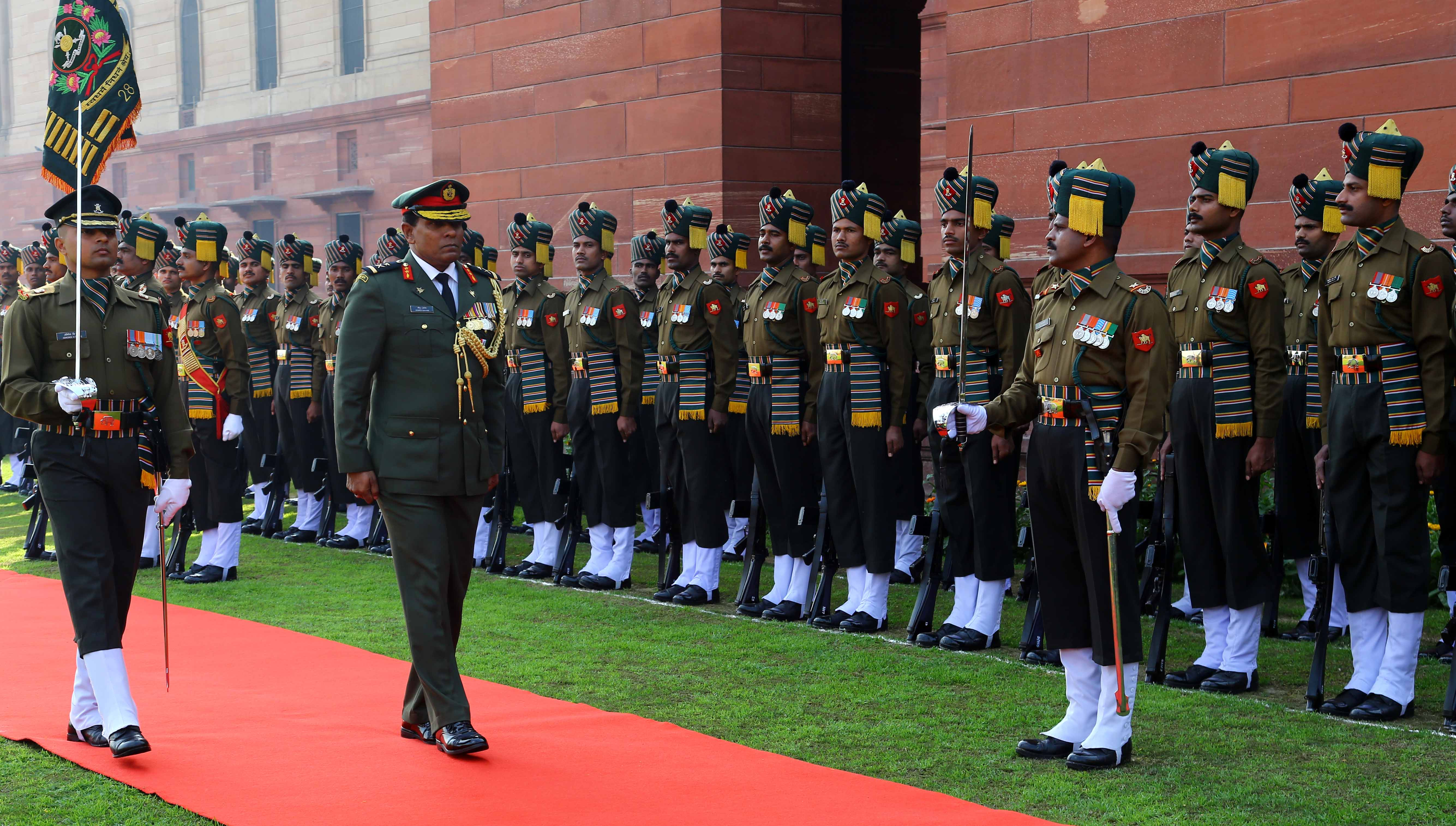 Maj Gen Ahmed Shiyam ndc psc Chief of Defence Force  Maldives Defence Force Inspecting Guard of Honour at South Block_