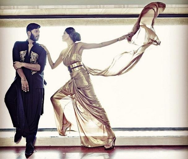 Nikhil Thampi with Susmita Sen for Harper's Bazaar Bride