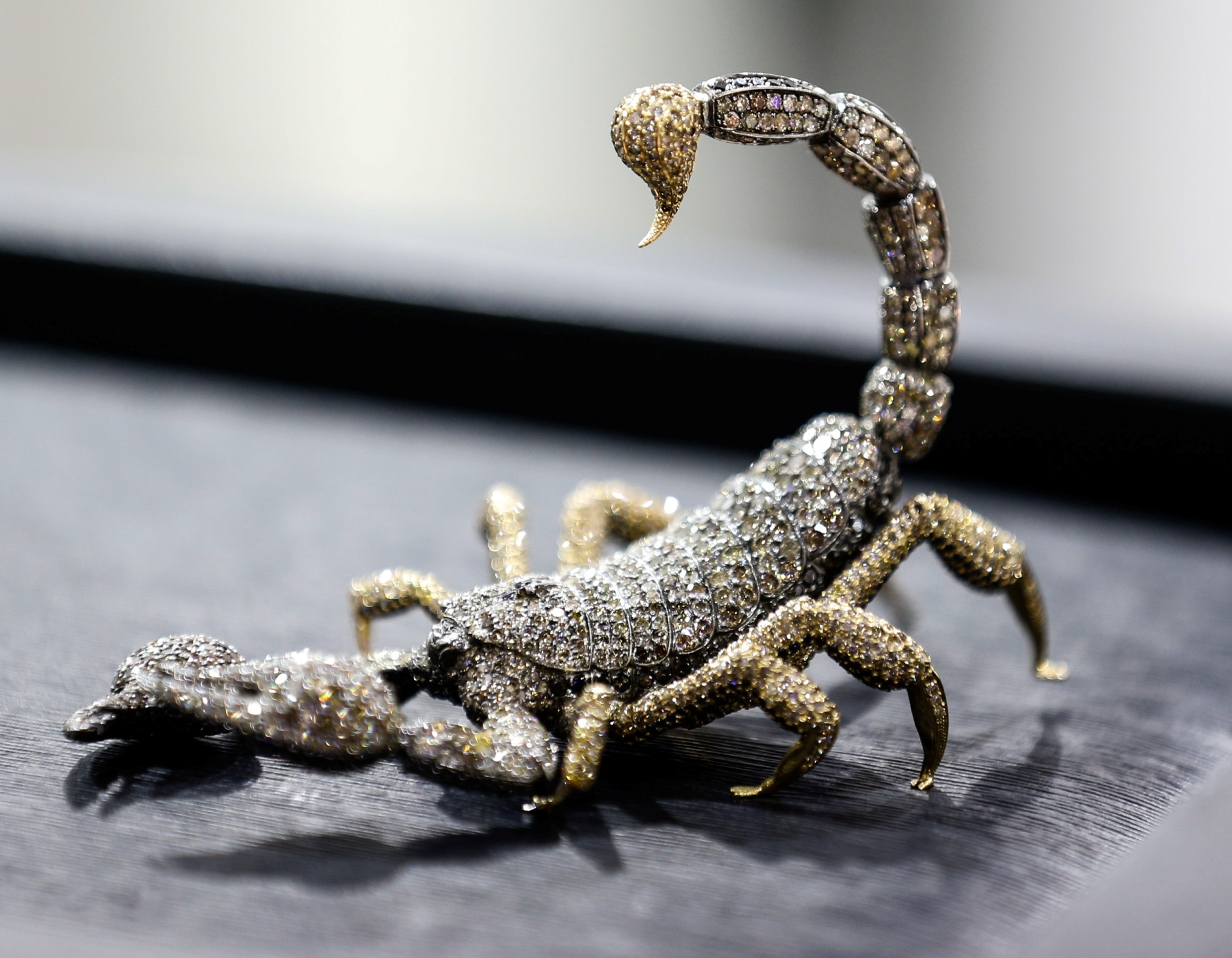 The Scorpion is made from 69 Ct diamonds and contains 3.480 stones. With a base made of 69 Ct gold, the piece is inspired by the designer and his spouse being Scorpios.