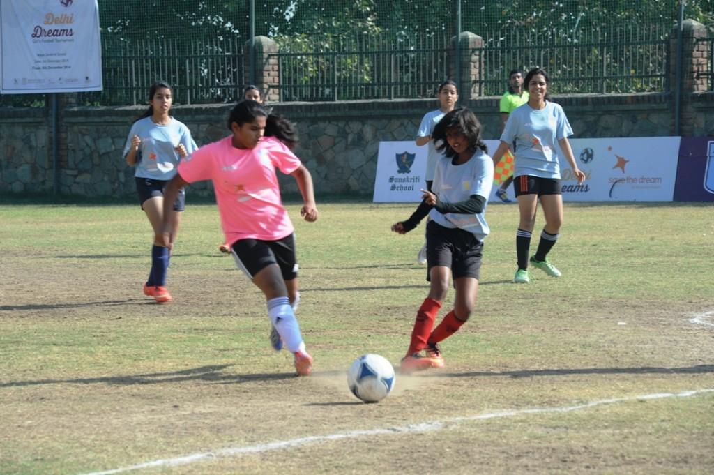 Delhi Dream Girls Football Tournament Finals organised by CEQUIN at sanskriti School