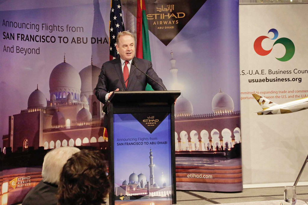 : President and Chief Executive Officer of Etihad Airways, James Hogan, addresses US-UAE Business Council luncheon on 9 December 2014 in San Francisco, California.