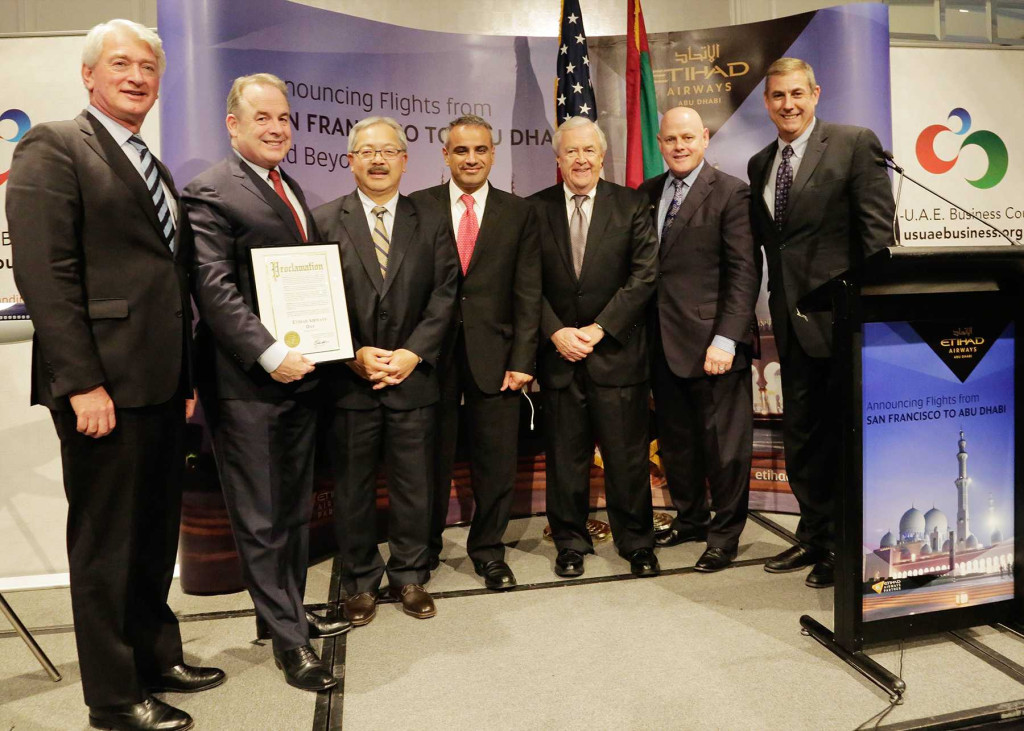 (left to right): Geert Boven, Senior Vice President – The Americas, Etihad Airways; President and  Chief Executive Officer of Etihad Airways, James Hogan; San Francisco Mayor Ed Lee; UAE Consul General in Los Angeles, His Excellency Abdulla Alsaboosi; San Francisco Center for Economic Development's Executive Director, Dennis Conaghan; San Francisco Chamber of Commerce President and Chief Executive Officer, Bob Linscheid; and US-UAE Business Council President, Danny Sebright at US-UAE Business Council Luncheon.