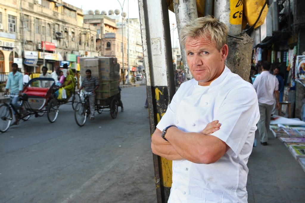 Picture by Philip Hollis for Channel 4     30-3-09 Gordon Ramsey's Great Escape. India.  Picture Shows: Gordon Ramsey cooks his own dishes in the kitchens of Moti Mahal Restaurant in Delhi.
