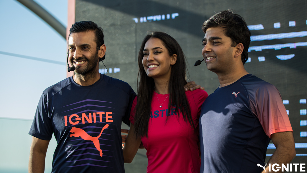 (L-R) PUMA Running Expert & Sports Scientist Shayamal Vallabhjee  Lisa Haydon and PUMA India MD Abhishek Ganguly at t_