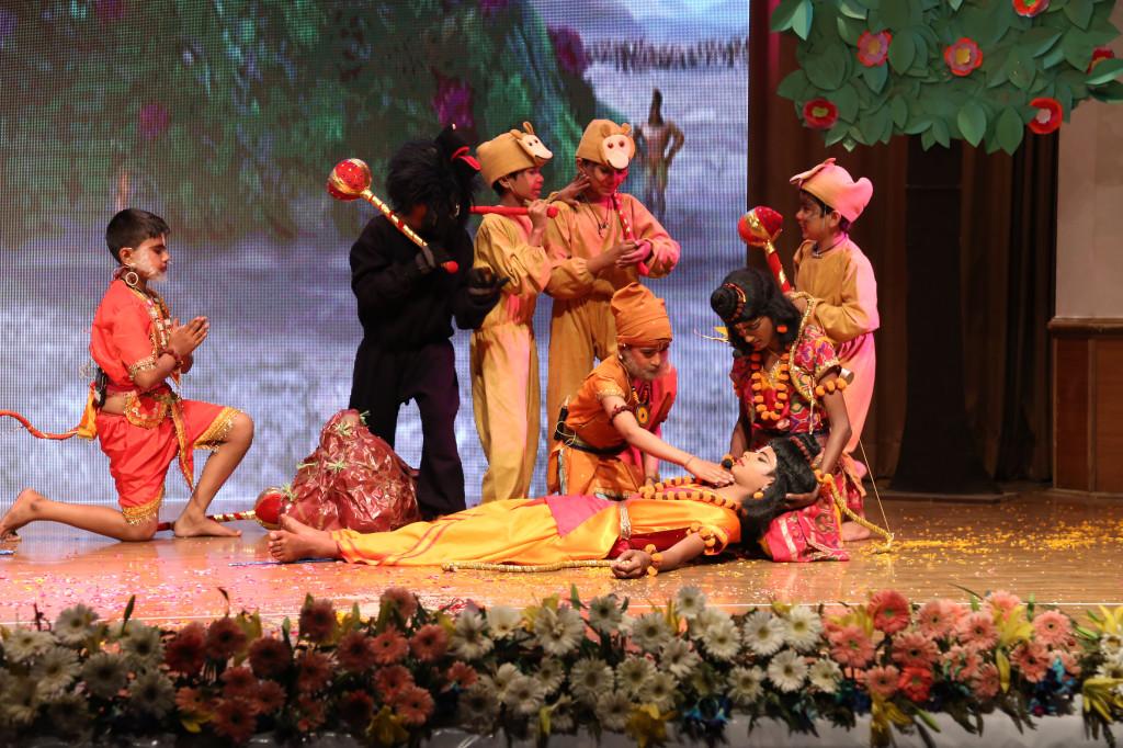 Children performing RamSaga during Saksham - An Omax CSR Initiative