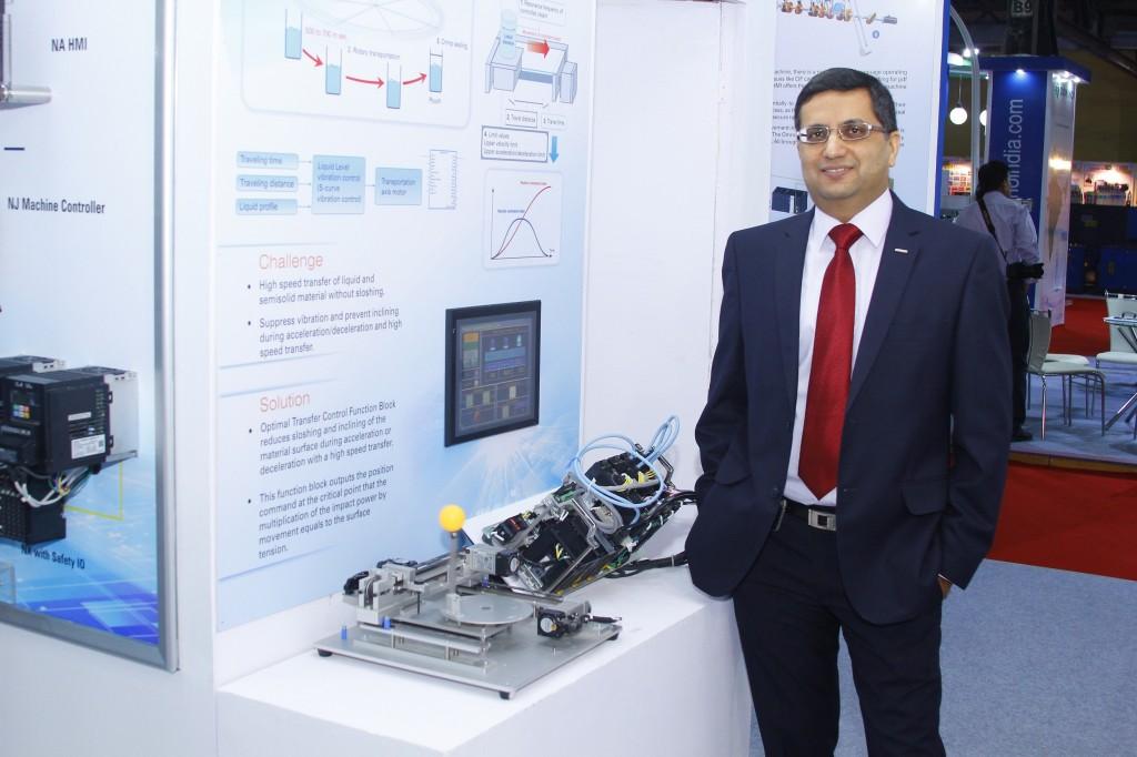 Mr. Sameer Gandhi.MD.Omron Automation India at OMRON booth at Intelpack 2015.
