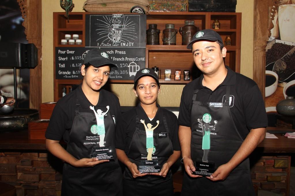 Top Three Winners of the Starbucks Coffee Championship - Rubeena Qureshi Saili Rane & Shikhar Hali