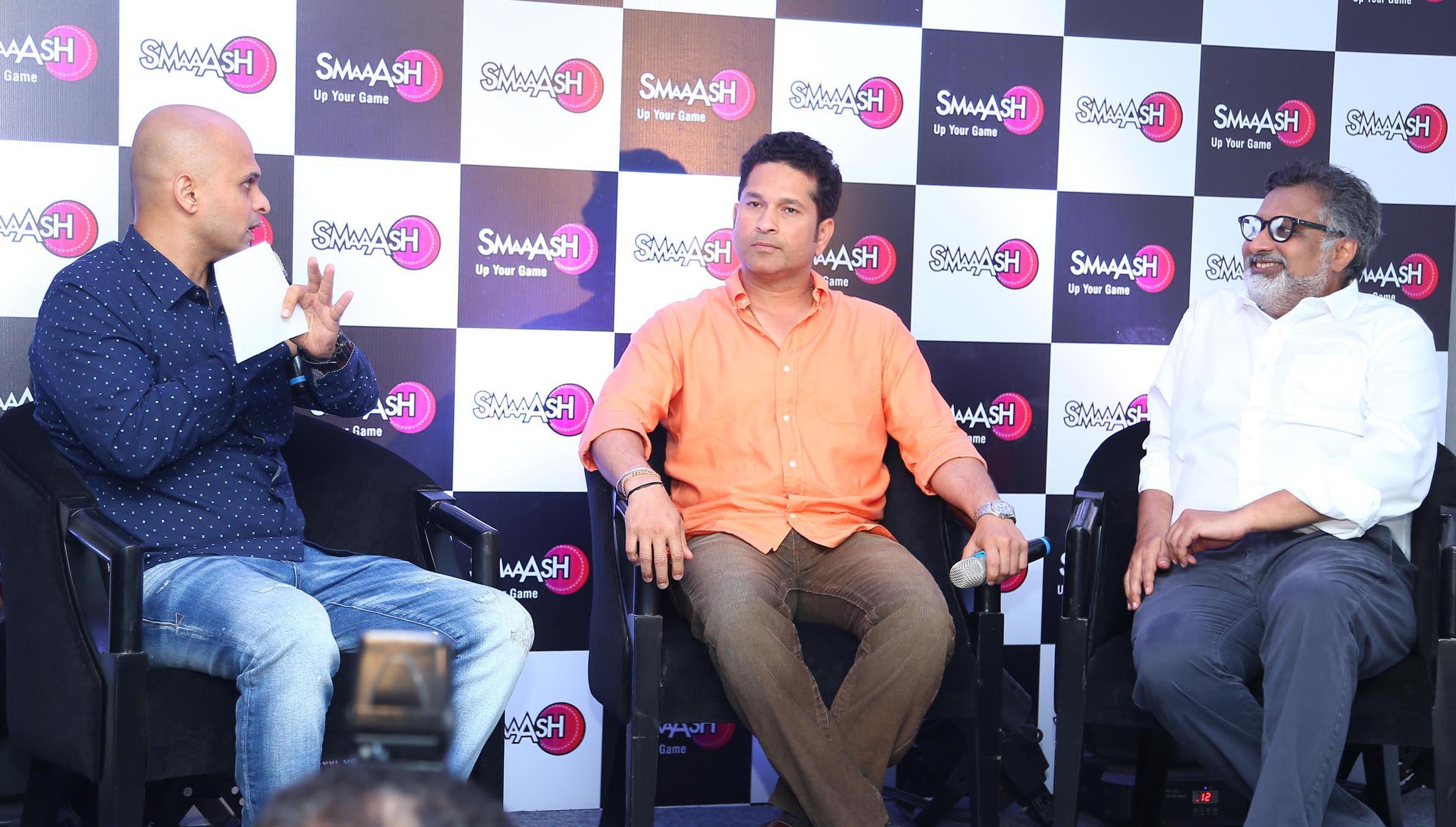 Author Vikram Sathaye, Sachin Tendulkar & Shripal Morakhia, Chief Imagination Officer, Smaaash, at the launch of premier urban sports park - Smaaash, at Inorbit Mall on Tuesday.