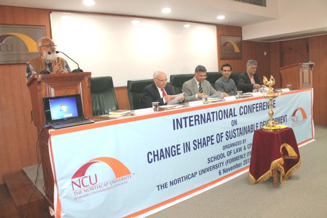 Prof. Puspesh Pant discussing importance of sustainable development to students