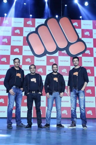 From L-R Sumeet Kumar  Rajesh Agarwal  Vikas Jain & Rahul Sharma  Co-Founders at Micromax unveil the new logo