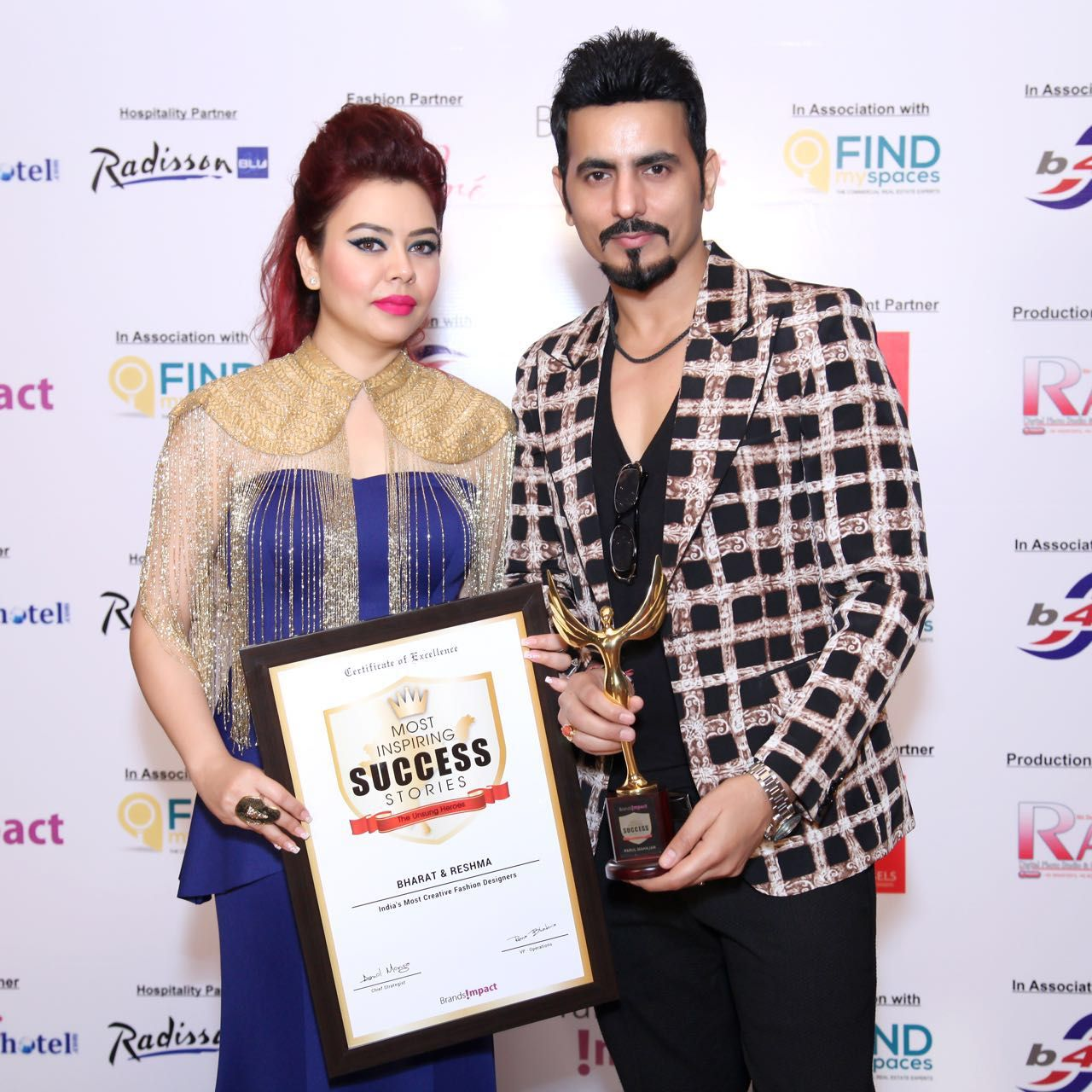 Designer Duo Bharat Reshma Grover Felicitated With Most Inspiring Success Stories Award Core Sector Communique