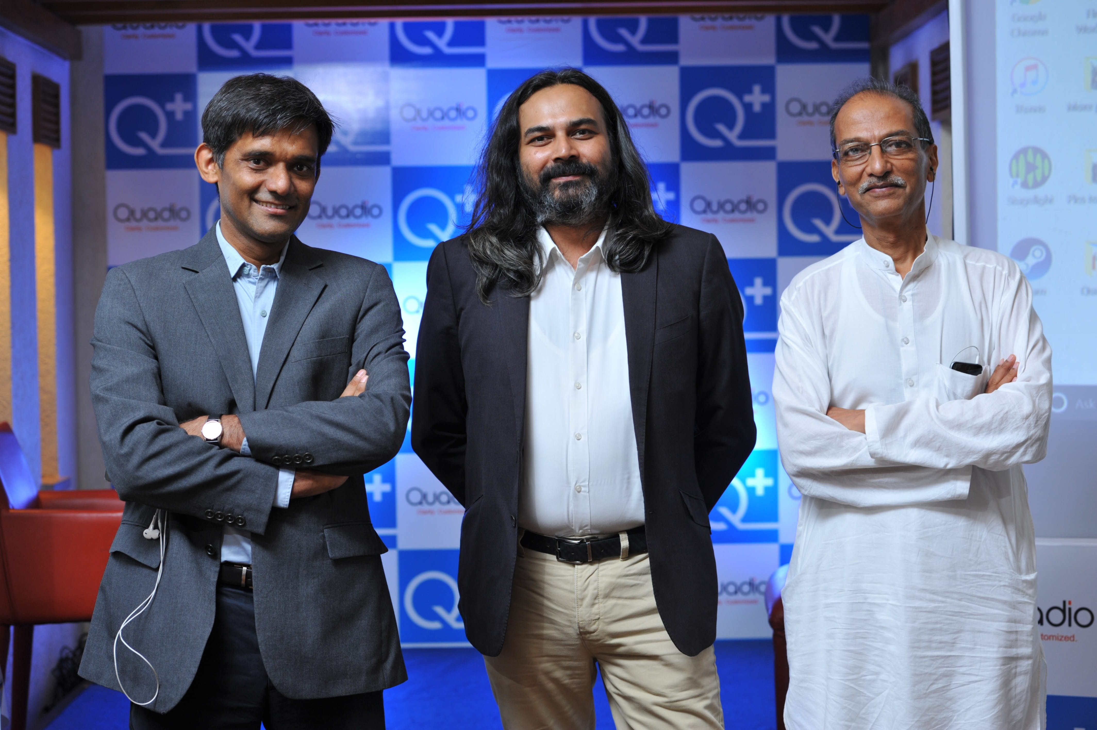 From L to R - Anurag Sharma  Co-founder & CTO_Neeraj Dotel  CEO_Paresh Patel  Co-founder of Quadio Devices Pvt Ltd