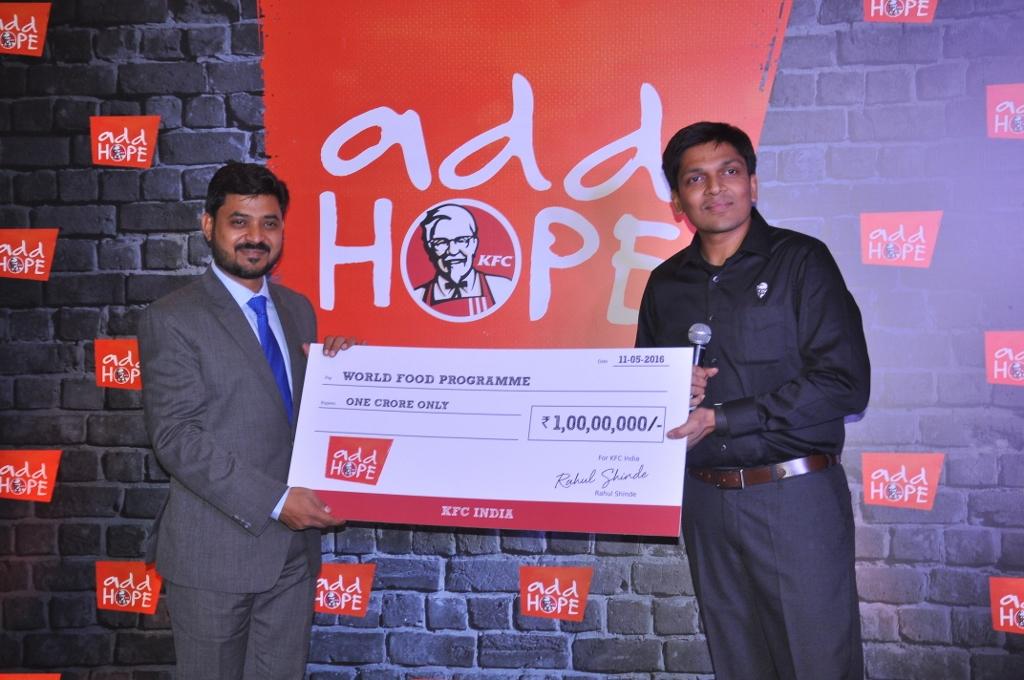L-R Mr. Upahaar Pramanik  World Food Program & Rahul Shinde  Managing Director  KFC India