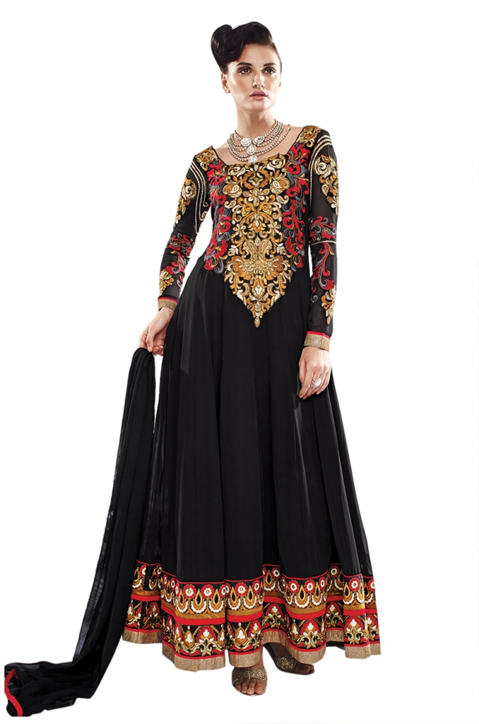 Ethnic Dukaan Black Resham Embroidered Faux Georgette Suit price 3863