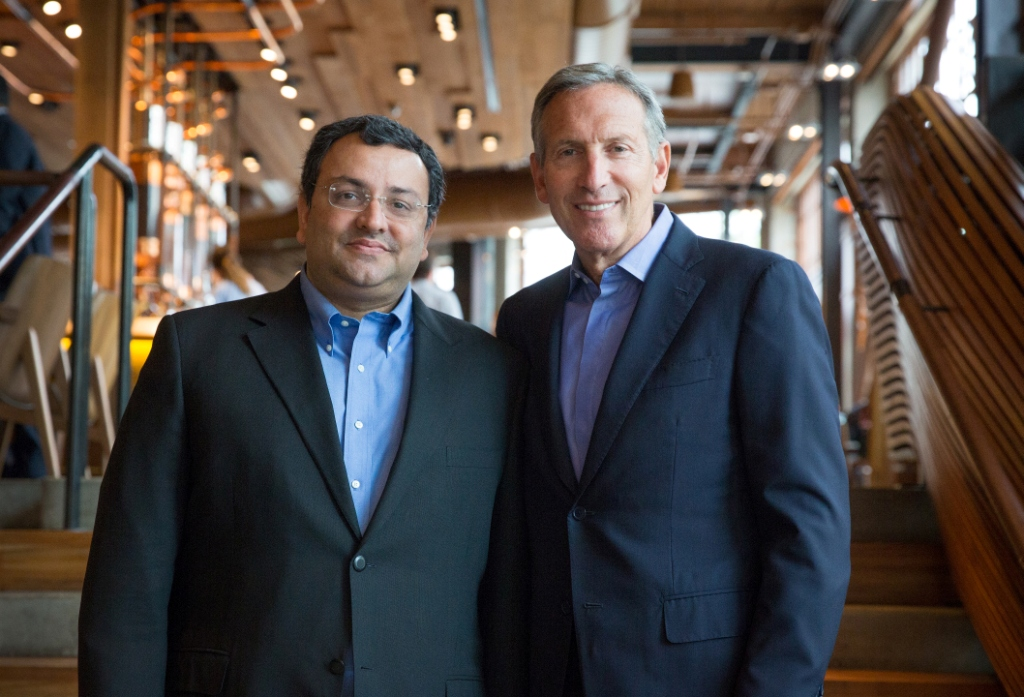 Starbucks CEO Howard Schultz meets with Cyrus Pallonji Mistry, chairman of Tata Group. Photographed Thursday, June 23, 2016 at the Starbucks Reserve Roastery and Tasting Room. (Joshua Trujillo, Starbucks)