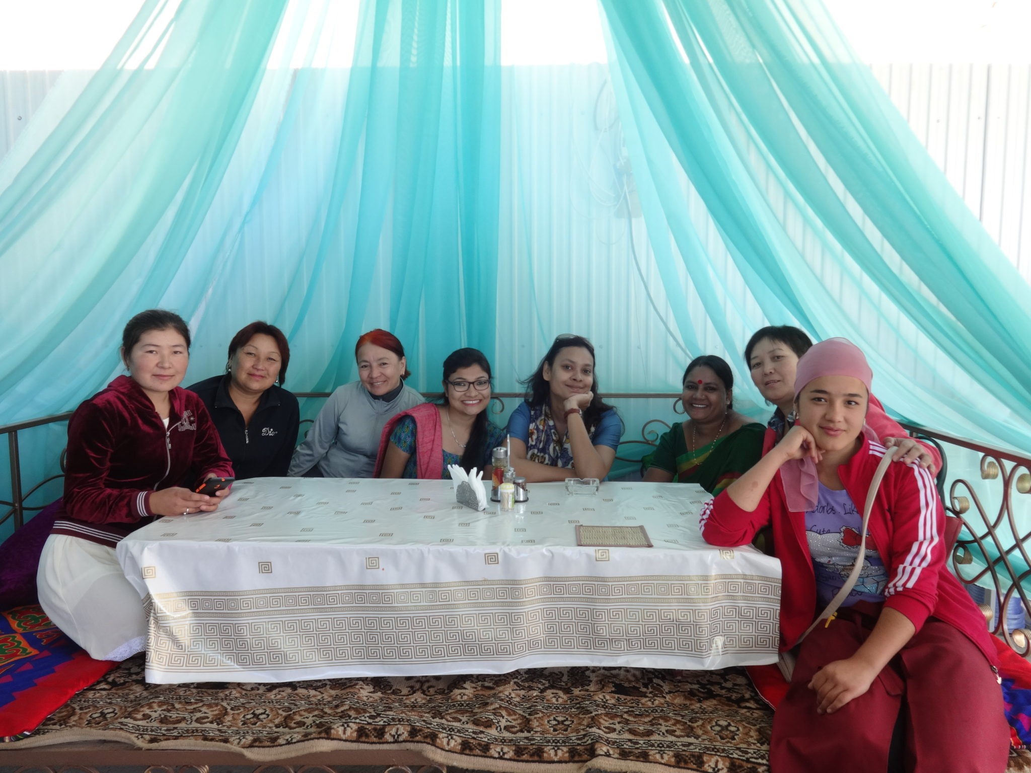 Sreya with the local artists of Kyrgyztan