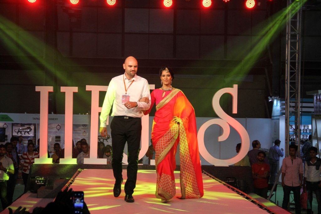 Marek Kinazs  Product Manager of Preciosa with the model who walked the ramp at IIFJAS Exhibition  Mumbai (2)