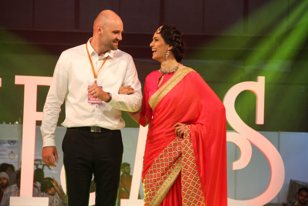 Marek Kinazs  Product Manager of Preciosa with the model who walked the ramp at IIFJAS Exhibition  Mumbai