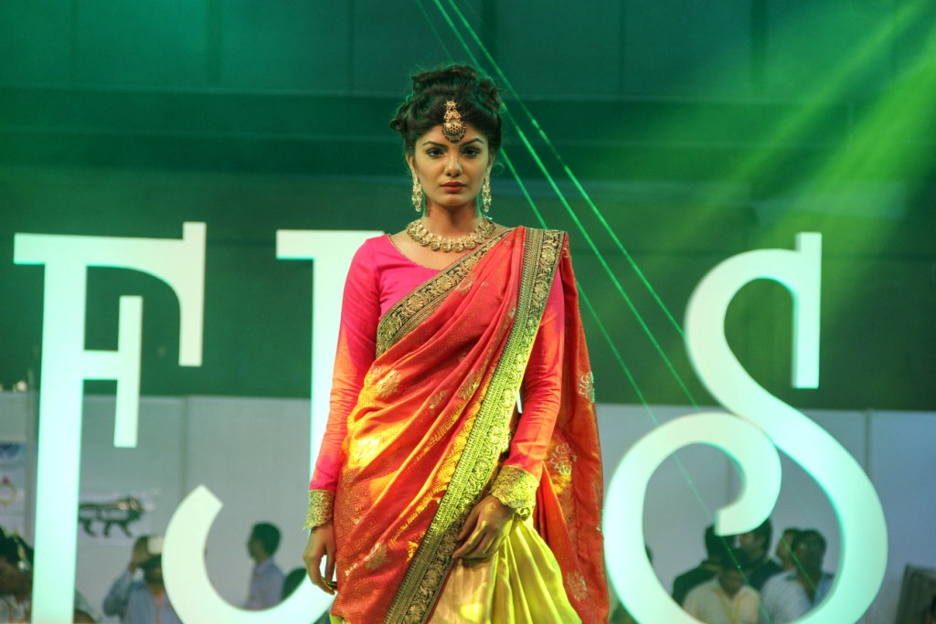 Model wearing Preciosa Collection walked the ramp at IIFJAS Exhibition  Mumbai