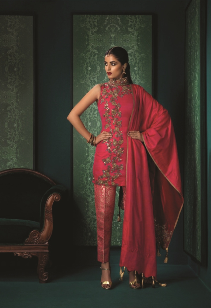 garnet-pink-silk-dupion-fitted-dupion-with-pink-and-gold-brocade-cigarette-trousers-by-designer-anuradha-and-sharaddh_